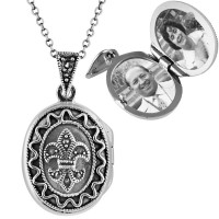 PT201   Marcasite Fleur de Lys Oval Locket on Chain Sterling Silver Ari D Norman